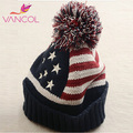 Winter Hat Women 2015 USA American Flag Beanie Wool Warm Knitted Caps Hats for Man Women Skullies Beanies Wholesale Pompom Hat