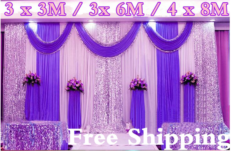 wedding stage backdrops decoration romantic wedding curtain with swags sequins 3 3M 3 6M 4 8M