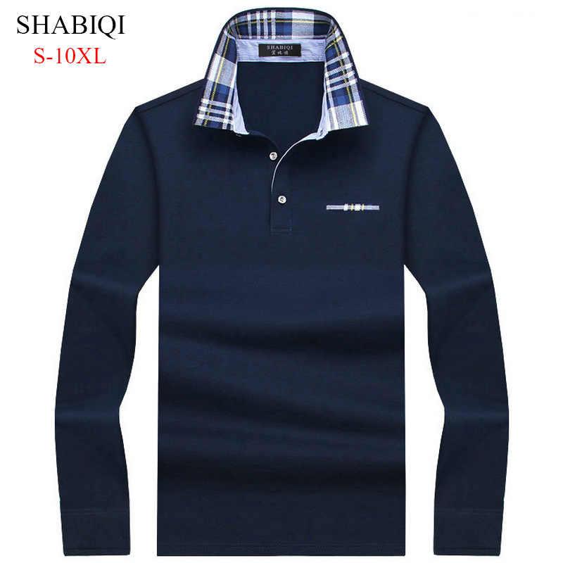 95a22823b SHABIQI Casual cotton Men Polo Shirt Mens Long Sleeve Solid Polo Shirts  Camisa Polos Tops Tees