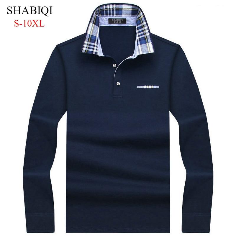 SHABIQI Casual cotton Men   Polo   Shirt Mens Long Sleeve Solid   Polo   Shirts Camisa   Polos   Tops Tees Plus size 6XL 7XL 8XL 9XL 10XL