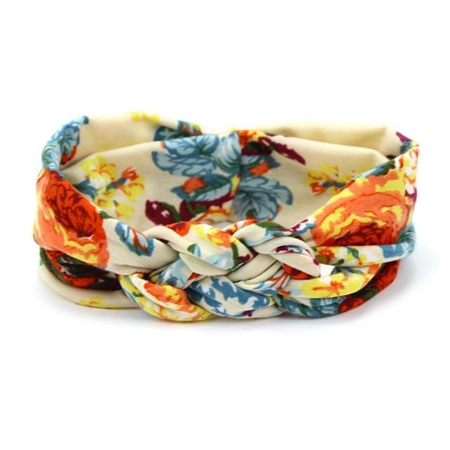 Lovely Flower Printed Cloth Hair Band for Child Turban Knot Cross Headband Headwear Hair Accessories 3