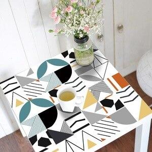 Image 3 - ホットブルー防水幾何タイル不足テーブルトップス壁アート家具自己粘着pvc壁紙ウォールステッカー