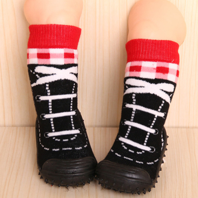 Baby Socks Toddler Indoor Floor ShoesNewborn Anti SlipLearning To Walk Cotton Baby Socks With Rubber Soles Infant Socks FWs952