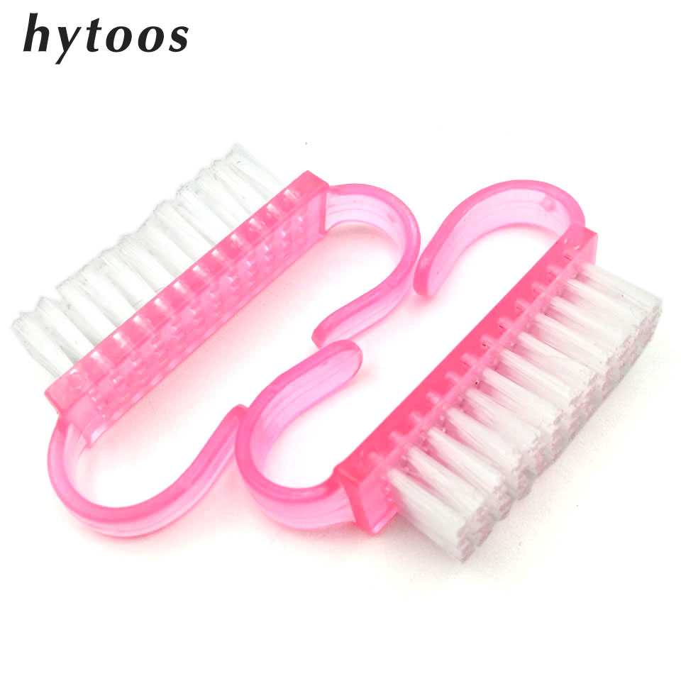 HYTOOS 2 PCS/lot Plastic Nail Art Cleaning Brush Manicure Pedicure Brushes Tools Small Finger Nail Care Dust Clean Handle Brush