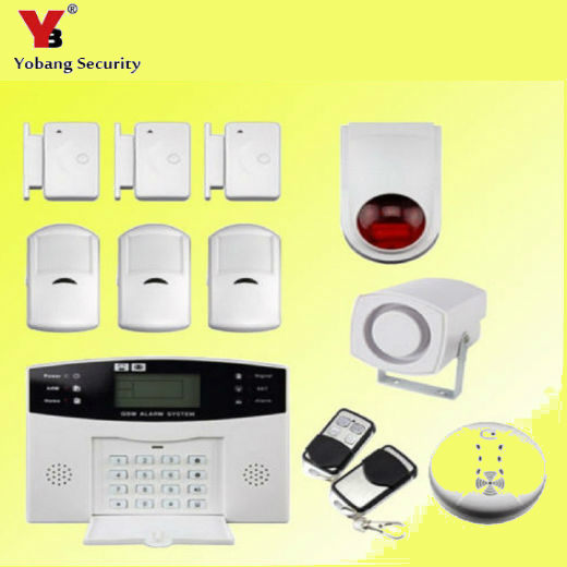YoBang Security Cable SMS GSM Alarm System LCD Display Home Safely Alarm System Outdoor Flash Alarm Smoke Sensor +PIR Detector. yobang security metal remote control wireless line gsm home safety system lcd display door sensor wire alarm detector pir alarm
