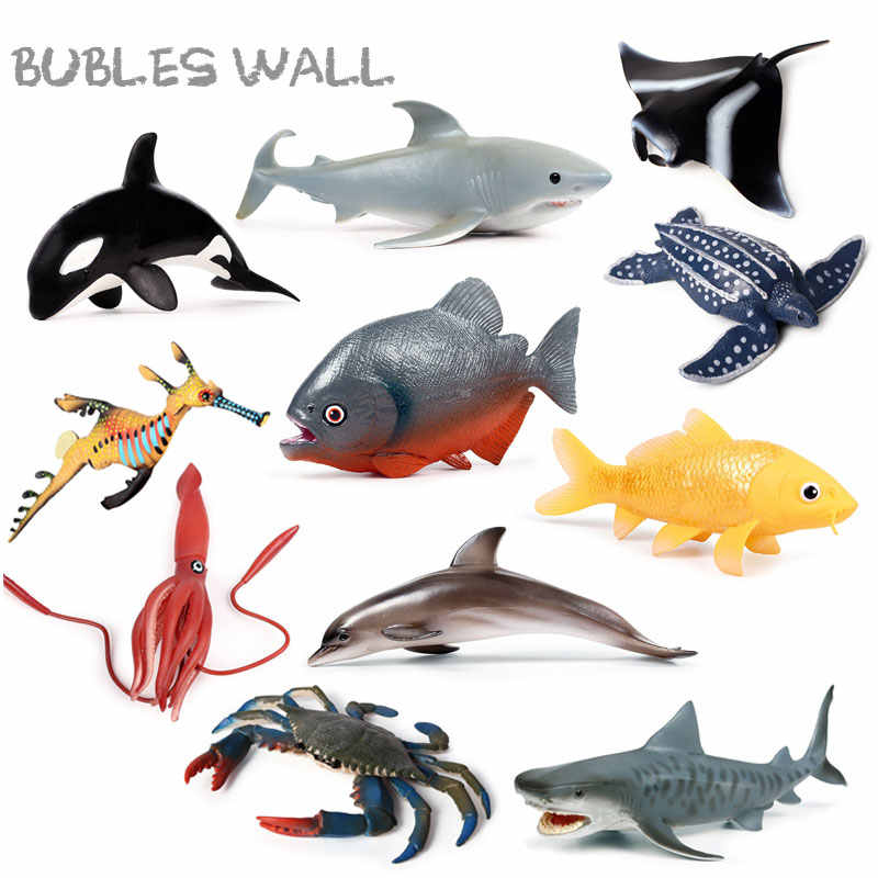 <4 dólar área> vida marinha mundo subaquático baleia tubarão caranguejo tartaruga figura de ação aquário oceano animais marinhos modelo brinquedo presentes