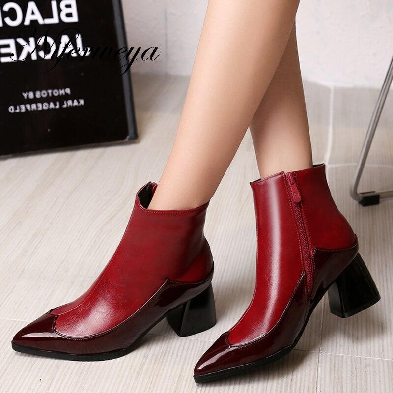 7791fcaea01ca Sexy punta estrecha tacones altos tamaño grande 32-43 invierno mujeres  botas cortas moda colores mezclados cremallera botines zapatos mujer