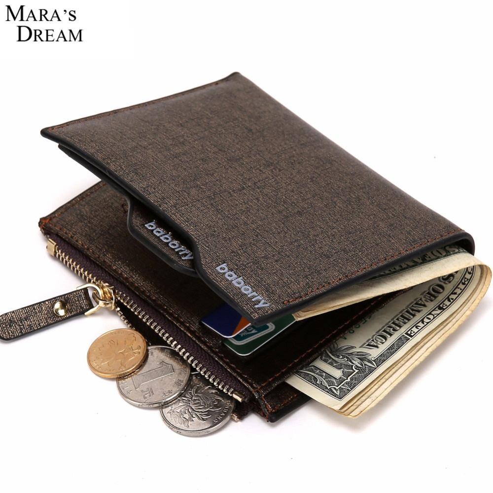 Mara's Dream 2018 PU Leather Men Business Wallets Bifold ID Card Holder Zipper Solid Color Coin Purse Clutch Men Wallet Bag fashion solid pu leather credit card holder slim wallet men luxury brand design business card organizer id holder case no zipper