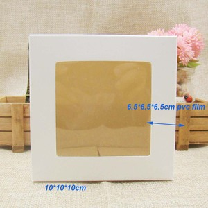 Image 4 - 10*10*10m 3color white/black/kraft stock paper box with clear pvc window .favors display /gifts&crafts paper window packing box