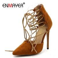 ENMAYER Pointed Toe Supper High Heels Shoes Woman Shllow Pumps Plus Size 34 43 Black Beige Purple Light Tan Zipper Lace up Pumps