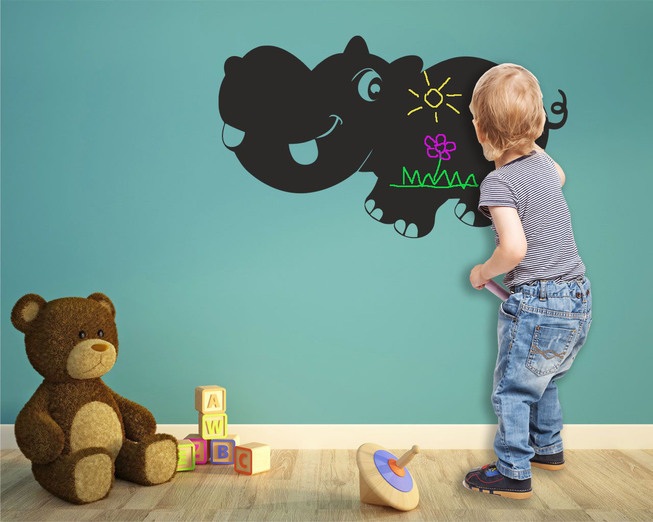 Lovely Hippo Chalkboard Nursery Wallpaper Decor For Kids Baby Rooms Decoration Mural Wallstickers