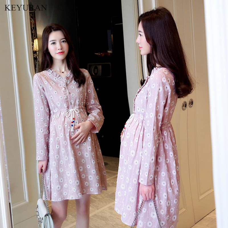 Maternity Dresses 2018 Spring New Cotton Print Pregnant Long-sleeve Nursing Clothes One-piece Dress for Breastfeeding Y094 new party pregnant coat lace long pregnant breastfeeding dresses for women nursing dress hot selling