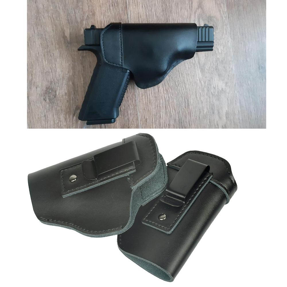 Left Hand Leather IWB Concealed Carry Gun Holster Weapons for Glock 17 19 22 43 Sig Sauer P226 Ruger Beretta 92 M92 s&w Pistols image