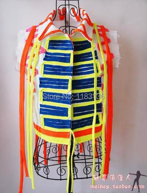Женское жилет певица ds костюм 2ne1 джаз танец хип-хоп хип-хоп хип-хоп костюмы неон мотоцикл жилет для танцора звезды шоу бар