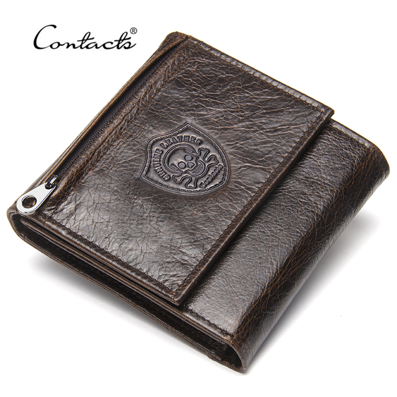 CONTACT'S Genuine Leather Men Wallets New Male Short Purse Brand Design Money Trifold Clutch Wallet With Card Holder Coin Bags