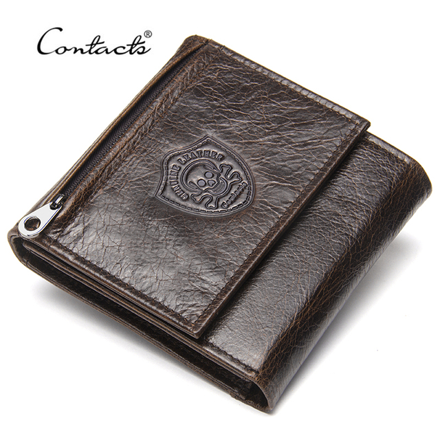 2b0982c07783 CONTACT S Genuine Leather Men Wallets New Male Short Purse Brand Design  Money Trifold Clutch Wallet With Card Holder Coin Bags