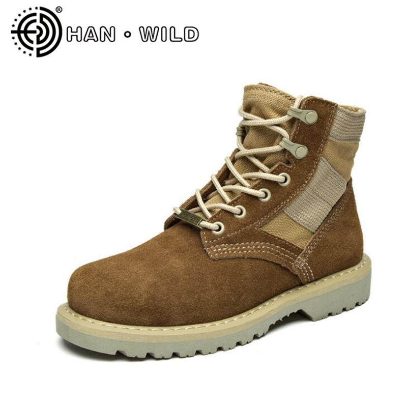 Desert Boots For Men Cow Suede Leather Martin Boots Couples Shoes Outdoor Army Boots Men Genuine Leather Tooling Boots Shoes men s desert military boots touch guy cow suede genuine leather ankle martin boot