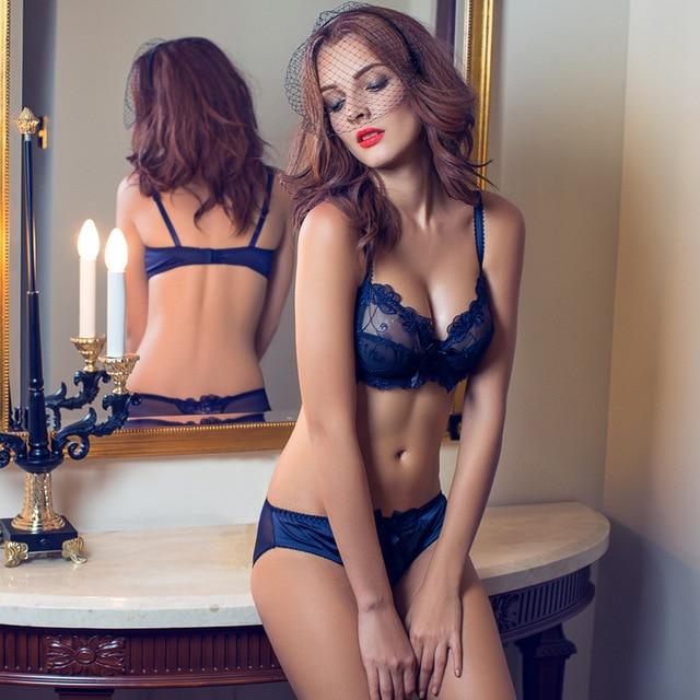 Lingerie plus size Ultra-thin Bra Brief Sets Push up Bra and Panties Female Underwear bra Set Transparent Women's Sexy bra