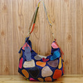 Caerlf new Fashion and colorful leather cowhide hitting scene with denim color matching leisure worn soft bag handbag