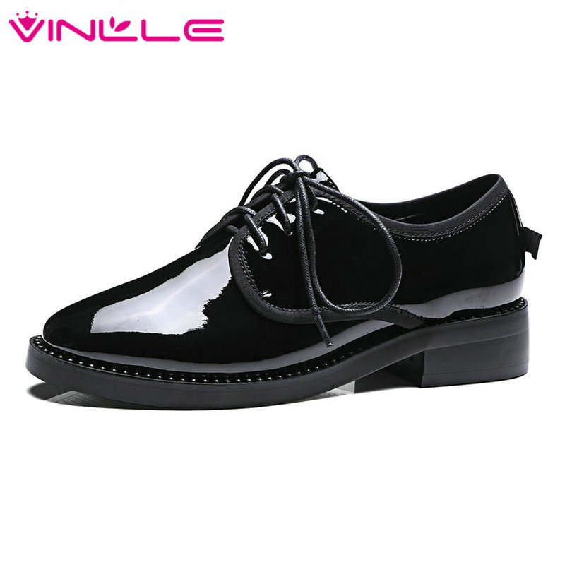 VINLLE 2017 Woman Pumps Square Low Heel Patent Leather Spring Autumn Party Shoes Women Lace Up Black Casual Shoes Big Size 34-43 vinlle 2017 sweet rome style women pumps party summer shoes pointed toe square low heel lace up wedding woman shoes size 34 43