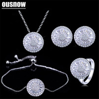 OUSNOW 4 Piece Fashion Ladies Accessories Silver Color Round Cubic Zirconia Women Jewelry Sets Best Friends Gift