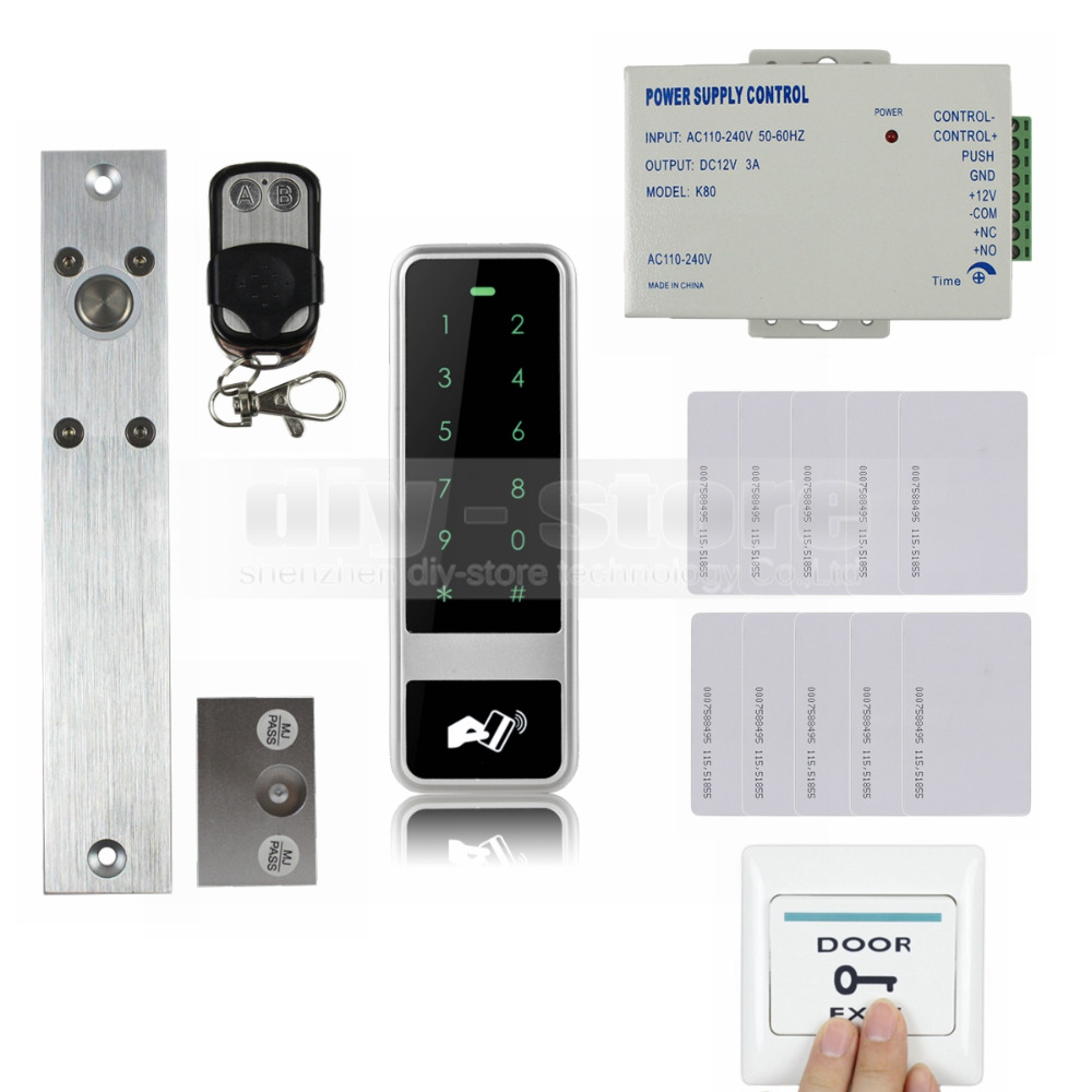 DIYSECUR 125KHz RFID Reader Password Keypad Electric Bolt Lock Door Access Control Security System Kit