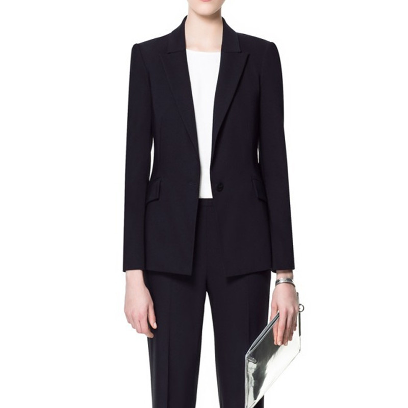 New OL Style Custom made Navy Long Sleeves Women Business Suit Slim High Quality suits Jacket+Pants