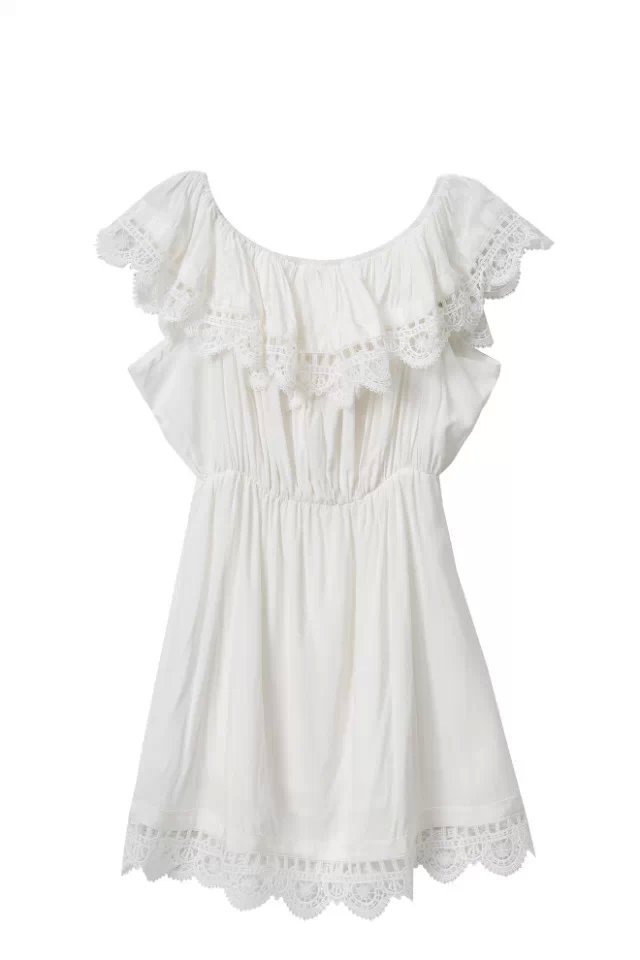 976e83aba80ff Tangada Fashion women Elegant Vintage sweet lace white Dress stylish sexy  slash neck casual slim beach Summer Sundress vestidos
