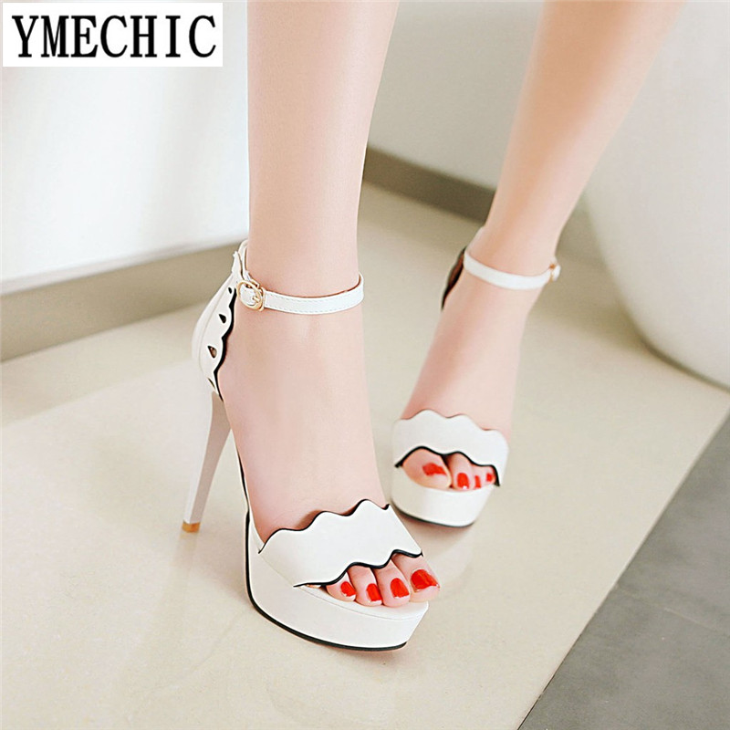YMECHIC 2018 Lady s White Black Ruffle Party Wedding Brides Platform High  Heels Platforms Sandals Plus Size Summer Shoes Woman-in High Heels from  Shoes on ... 264e3b957dbc