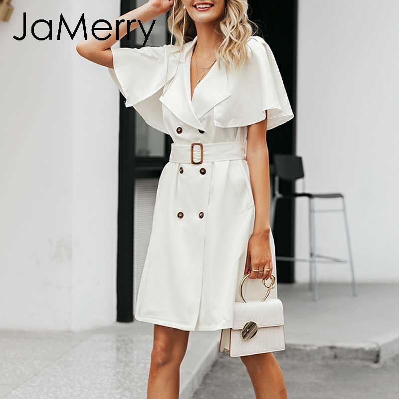 JaMerry Solid button ruffled sleeve women dress Elegant sash office lady work wear trench dress Blazer white party dress vestido