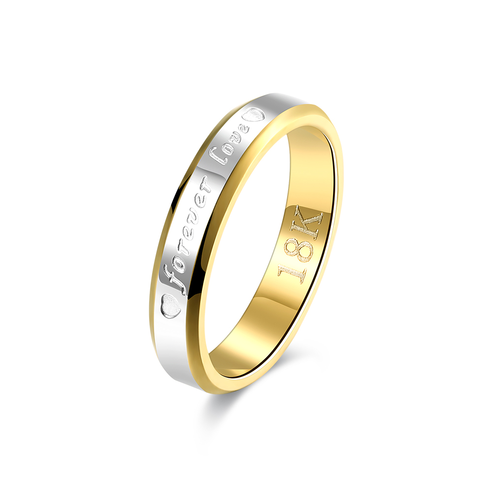 R096 Hot Selling Fashion Silver Plated & Gold-color forever love Steel Ring,Fashion Engagement Wedding Rings For Women Girl