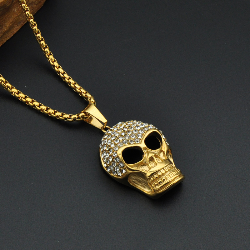 Mcsays hiphop stainless steel jewelry golden full crystal skull head mcsays hiphop stainless steel jewelry golden full crystal skull head pendant 60cm chain bling necklace fashion accessories 3mj in pendant necklaces from mozeypictures Images