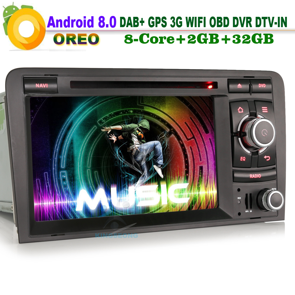 Android 8.0 DAB+ Sat Navi Wifi 3G DVR CD RDS OBD DTV-IN Head Unit BT Radio Car GPS Navigation player FOR AUDI A3 S3 RS3 RNSE-PU