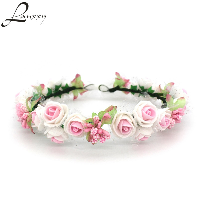 Lanxxy Women Girls Hair Accessories Floral Crown Headwear Fashion Headband Women Wedding Bridal Hair Bands Rose Wreath women girl bohemia bridal camellias hairband combs barrette wedding decoration hair accessories beach headwear