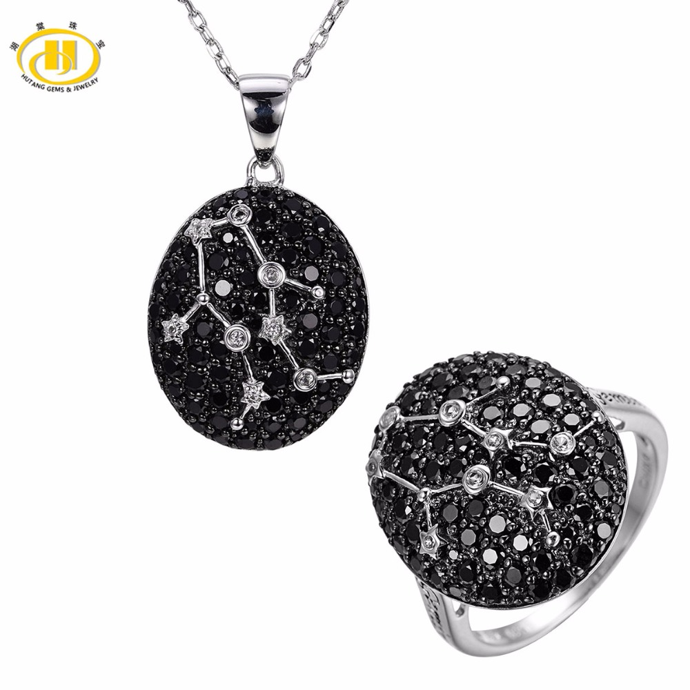 Hutang Gemini Black Spinel Pendant & Ring Solid 925 Sterling Silver Sign Fine Jewelry Sets For Gift 21th May Until 21th June mesh gemini lucky star sign bracelet