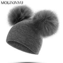 MOLIXINYU niños sombrero niño niños bebé cálido invierno lana gorro de  punto de piel Pom sombrero d369fa85c99