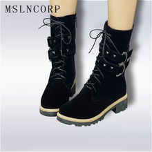 Size 34-43 New Fashion Style Black Buckle Ankle Boots Flats Round Toe Zip Martin Boots Nubuck Woman Shoes Warm Plush Snow Boots plus size 34 43 fashion women boots with warm plush shoes spring autumn winter lace up punk flats round toe ankle martin boots