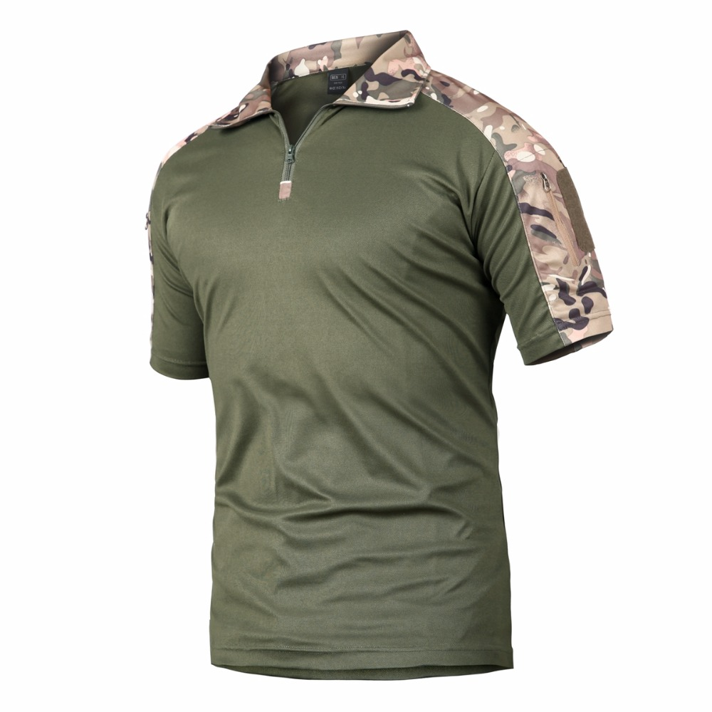 Men Breathable Hiking T Shirt Outdoor Professional Camping Trekking Tops Tactical Zip Collar Frogs T Shirt Quick Dry T Shirts