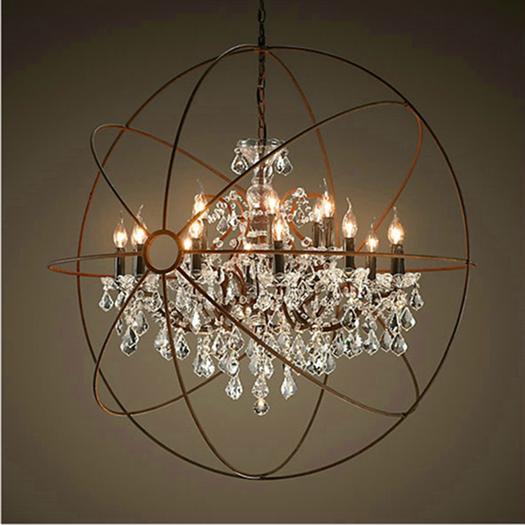 Retro Pendant Crystal Iron Ball Shape Lamp  Loft American Country Art Lamp Crystal Chandelier For Living Room