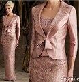 2016 longa Formal elegante mãe da noiva Pant ternos de renda mãe dos vestidos de noiva com jaqueta de cetim noivo casamentos