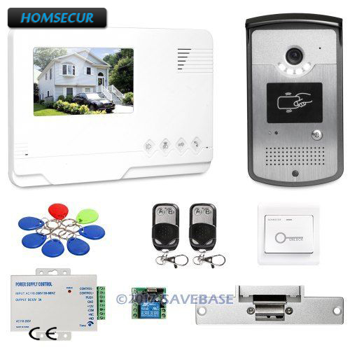 "HOMSECUR 4.3"" CMOS Wired Video Door Phone Intercom System with Real-time Outdoor Monitoring + Strike Lock"