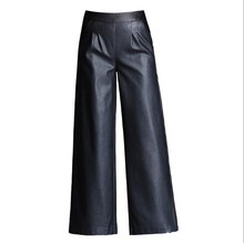 New 2019 Women High Waisted Pu Leather Pants Female Elastic Waist Bell Bottom Trousers Ladies Faux Leather Wide Leg Pants Black black stripe wide leg high waisted pants