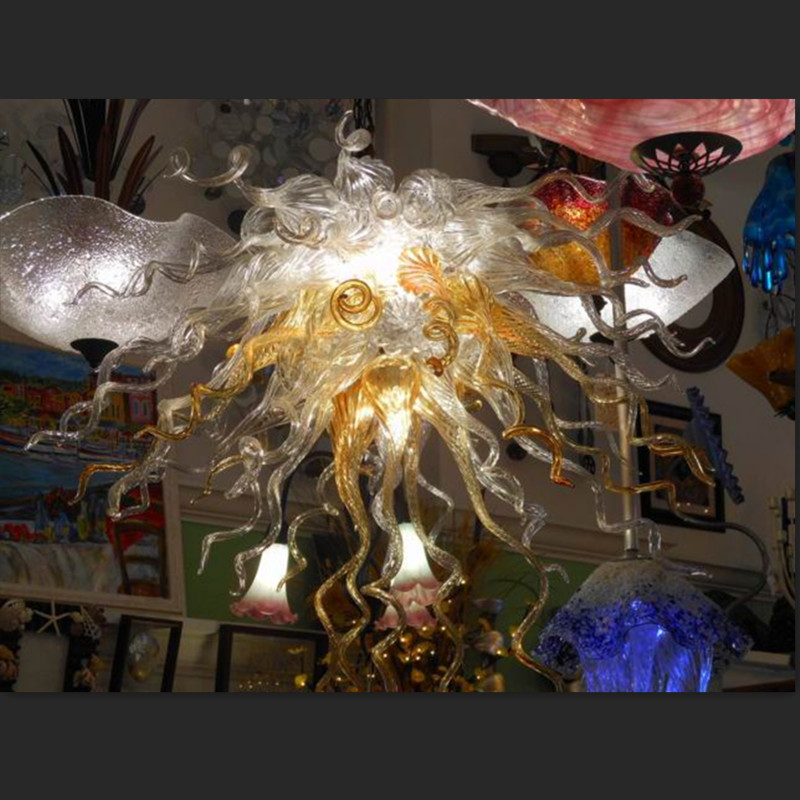 Amber Glass Chandelier LED Bulbs Blown Glass Chandeliers Lighting in Franch Avize