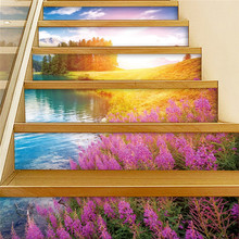 цена на Romantic Lavender Aesthetic Sunrise Creative Stair Sticker Self-adhesive Removable Wall Sticker Waterproof No Trace Home Decor