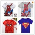 2016 Verão T-shirt Para O Menino de Manga Curta Crianças Superman Dos Desenhos Animados Do Homem Aranha T Varejo 1 PC H494