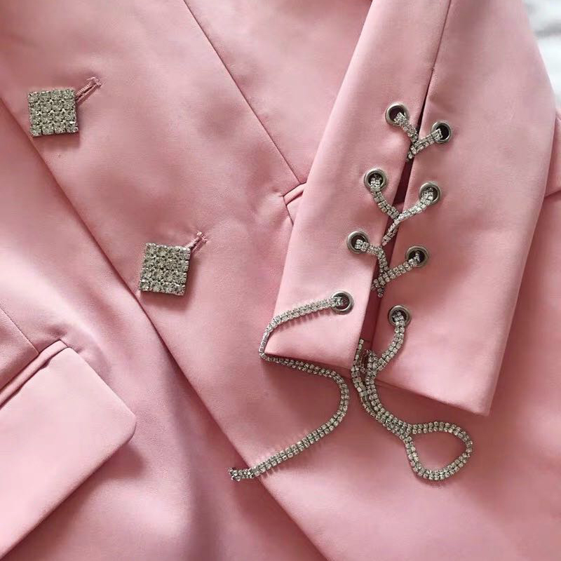 2019 New Spring Autumn Ladies Long Blazers Casual Crystal Button Long Sleeve Blazer Femme Elegant Pink Tassel Runway Blazer