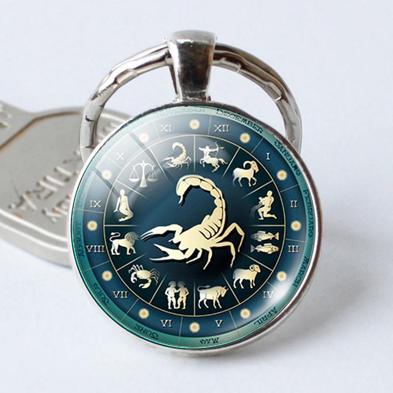 12 Constellation Jewelry Key Chains Zodiac Signs Keychain Key Rings Bag Car Round portachiavi sleutelhanger Pendant Man Woman(China)