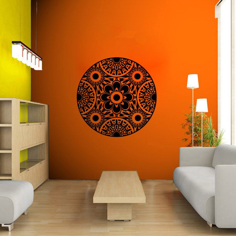 Pinturas Murais Big Mandala Vinylová nálepka na jógu Menhdi Lotus - Dekorace interiéru