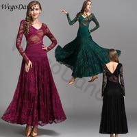 ballroom modern dance lace chiffon dress waltz practice costume women freeshipping