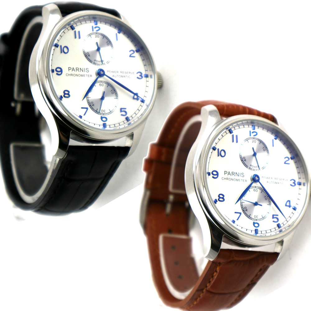 лучшая цена 43mm parnis silver white dial power reserve Luxury Brand Genuine Leather automatic movement mens watch